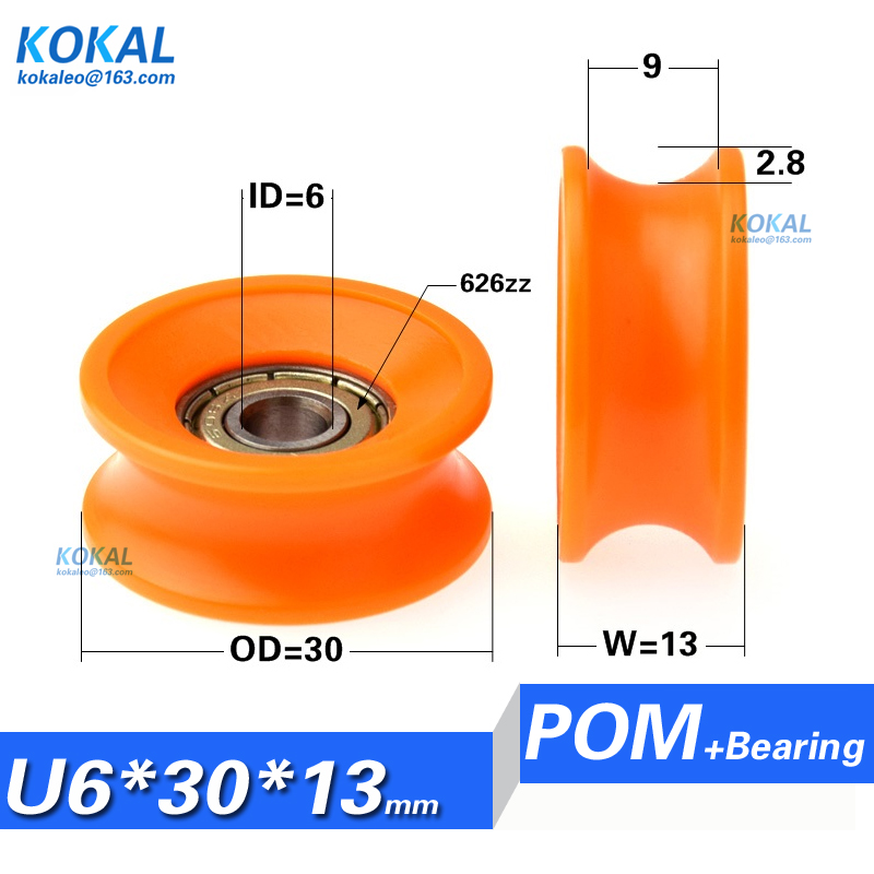 4Pieces Orange Nylon U-Type Groove Bearing Pulley Wheel for Doors and Window