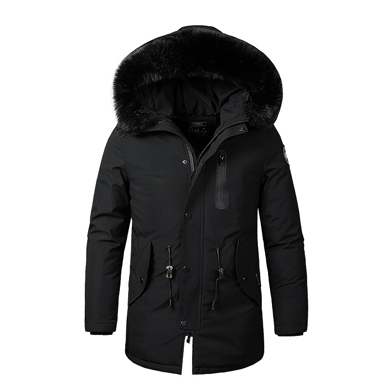 2019 Brand Winter Faux Fur Collar Long Cotton Thick Hoody   Parkas   Jacket Men Pockets Outwear Waterproof warm Jackets Hooded coats