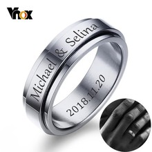 Vnox Personalized Spinner Ring for Men Women 6mm Stainless Steel Rotatable Wedding Band Custom Name Date Initial Male Tail Ring