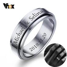 Vnox – bague rotative en acier inoxydable pour homme et femme, anneau de mariage, personnalisable, avec nom, Date et initiales, 6mm