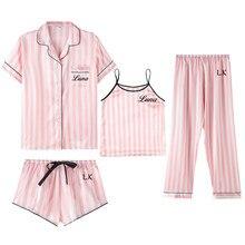 4 peça nome personalizado mulheres pijamas de seda do falso cetim pijamas conjunto manga pijamas pijamas terno feminino homewear