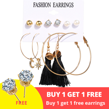 Women Bohemian Earrings Set Big Earrings Jewelry Women Jewelry Metal Color: Bundle 3