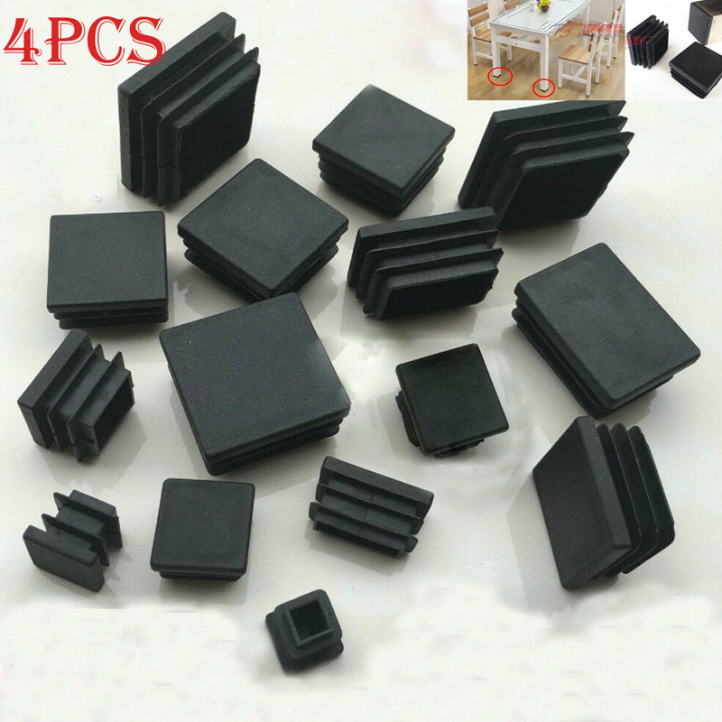 4pcs Black Plastic Blanking End Caps Square Pipe Tube Cap Insert Plugs Bung For Furniture Tables  Chairs Protector