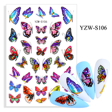 3D Stickers for Nails Self-adhesive Colorful Beautiful Butterfly Nail Art Decorations