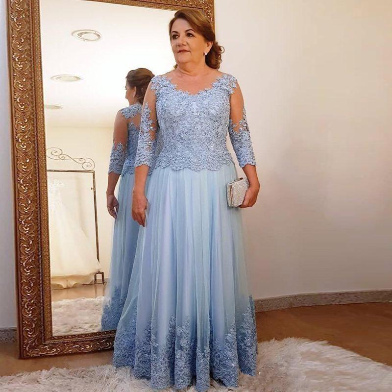 Più il Formato Madre del Vestito Da Sposa per la Cerimonia Nuziale Del Partito Della Luce Blu Del Merletto di Tulle 3/4 Delle Signore Del Manicotto Lungo Da Sera Formale abiti di promenade