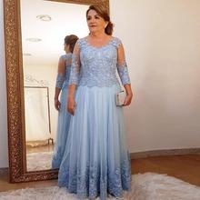 Plus rozmiar matka suknia dla panny młodej na ślub oświetlenie na imprezę niebieska koronka tiul 3 4 z długim rękawem panie formalne suknie wieczorowe na bal tanie tanio LEOSOXS Długość podłogi -Line Trzy czwarte Aplikacje Koronki M001 Matka panny młodej suknie REGULAR Kwiatowy Print