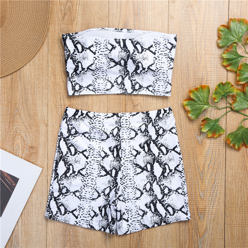 H6a0553082e044ba2b7a6eecbd1a54a0fI - Snake Skin Two Piece Set Women Strapless Low Cut Backless Crop Top Elastic Waist Shorts Summer Fashion Beachwear 2 Pcs Outfits