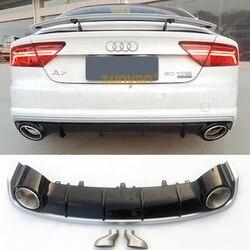 A7 dyfuzor tylnego zderzaka z wydechowy tłumik rura dla Audi A7 standardowy zderzak 2009 2018 RS7 styl|Zestawy karoserii|   -