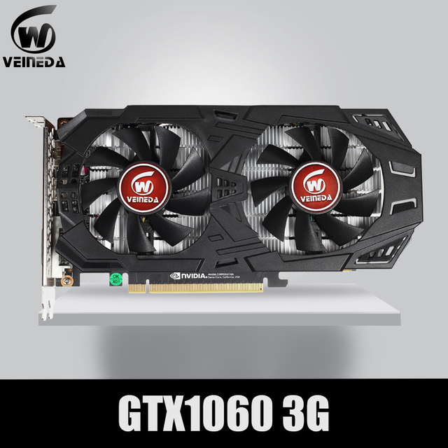 VEINEDA Grafikkarte GTX 1060 3GB 192Bit GDDR5 GPU Video Karte PCI E 3,0 Für nVIDIA Gefore Serie Spiele Stärker als GTX 1050Ti