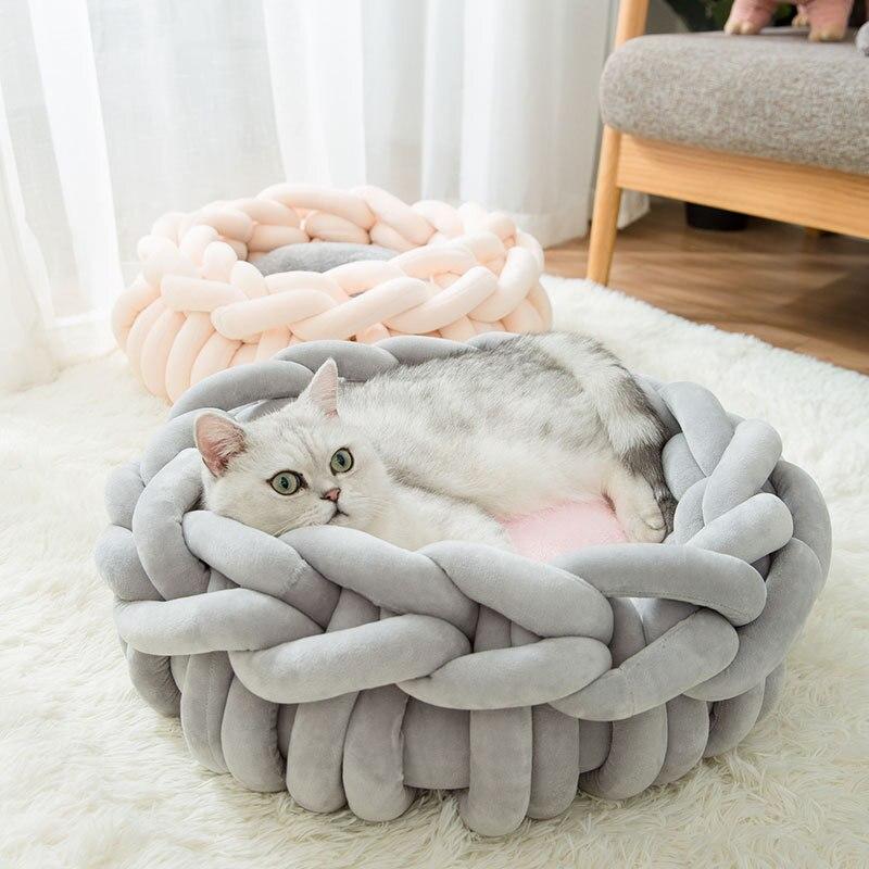 JORMEL fait à la main tricot chat lits tapis chaud doux petits chiens chenil chiot chaton grotte panier sac de couchage amovible Pet House