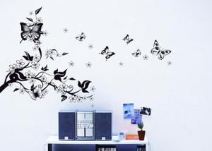 Large Black Butterfly Tree Flower Vine Art Wall Decal Stickers Home Decor DIY