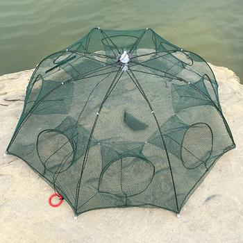 Wzmocnione 4-12 otworów automatyczna sieć rybacka klatka dla krewetek nylonowa składana pułapka na ryby obsada netto obsada krotnie krab pułapka sieć rybacka tanie i dobre opinie DSHUNTER CN (pochodzenie) Przędza wielowłókienkowa Drobna siatka Fishing Nets normal 60cm Pojedyncze Mesh Nylon Steel