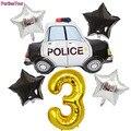 Полицейский воздушный шар, 6 шт., пятиконечная звезда, 32 дюйма, с золотыми цифрами, воздушный шар из фольги 1 - 9 дней рождения, воздушный шар дл...