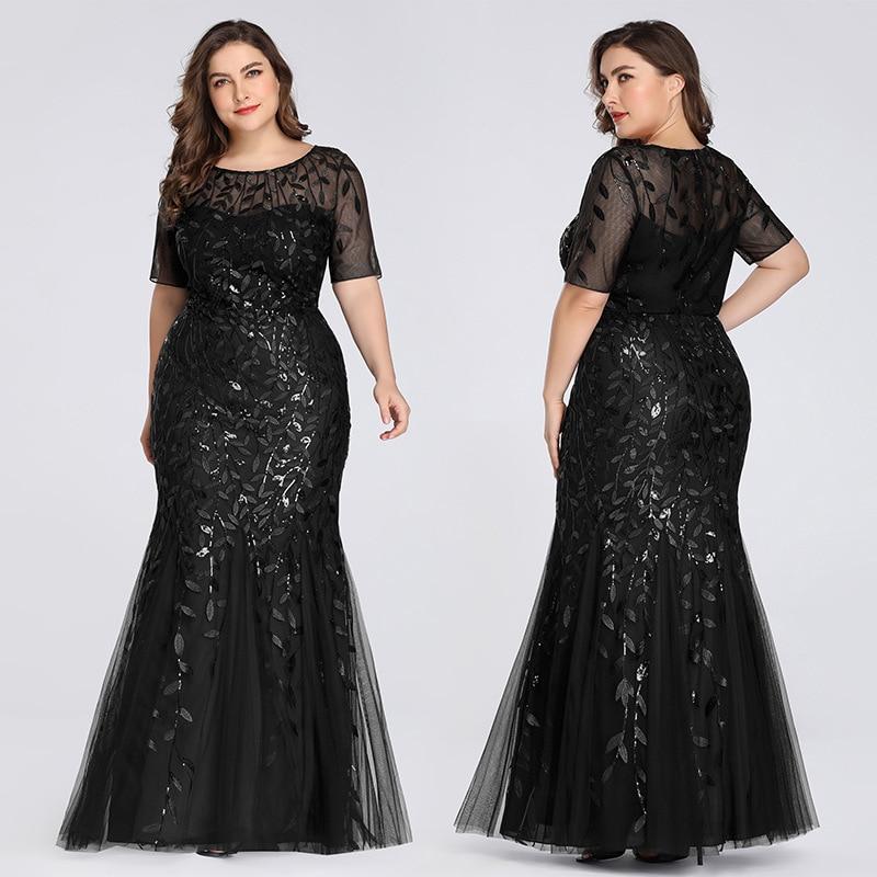Plus Size Elegant Evening Dresses Mermaid Sequined Lace Appliques Long Dress Party Gowns Formal Dress Women 8XL Evening Gowns 3