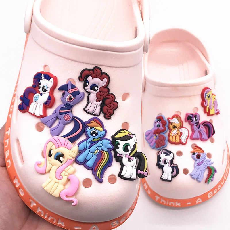 1 pçs dos desenhos animados unicórnio meu pequeno cavalo poni sapato pvc encantos fivela ajuste bandas pulseiras croc jibz sapatos acessórios crianças meninas presente