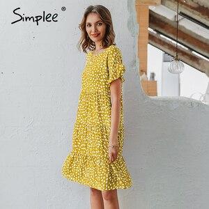 Image 5 - Simplee Sexy polka dot kobiety sukienka przyczynowy o neck luźna lamparta druku letnia sukienka na co dzień z krótkim rękawem wzburzyć wakacje plaża sukienka