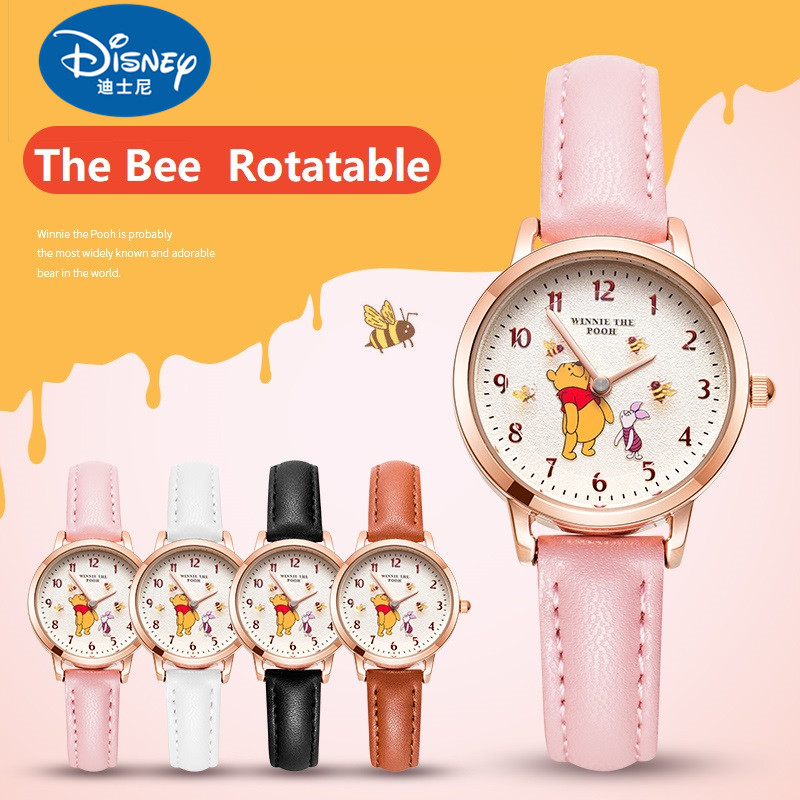 Disney Original Winnie The Pooh Bee Rotatable Kids Quartz Watches Fashion Waterproof Child Watch Female Reloj Mujer Gift Clock