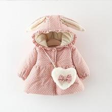 Baby Girls Coat Cartoon Rabbit Ear Dot Print Cotton Coats for 1-4T Girls Baby Infant Toddler Girl Jacket Coat Outerwear with Bag colorful dot rabbit print tee