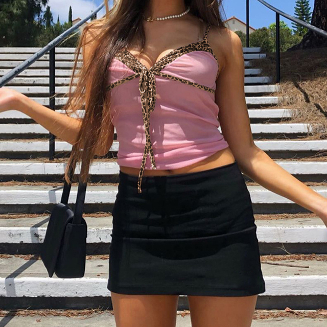 Pink Lace Tops Solid Patchwork Leopard Pint Cropped Tops Female V Neck Tank Tops Sexy Bodycon Casual Outfits Harajuku Tees 4