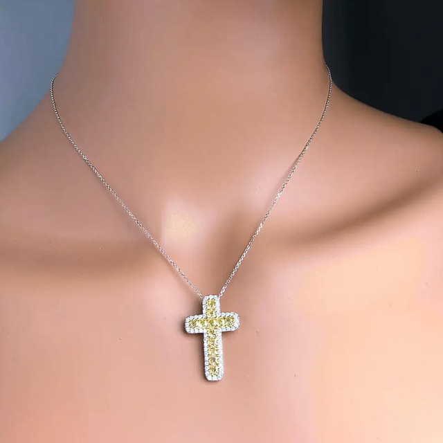 Huitan Lovely Cross Pendent Necklace Bright Yellow Color Cubic Zircon Anniversary Gift Daily Wear Women Necklace Fashion Jewelry