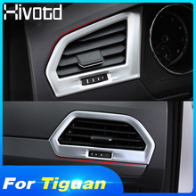 цена на Hivotd For VW Tiguan 2019 Center Dashboard Inside Side Air Conditioning AC Outlet Vent Molding Cover Matte Carbon ABS Accessory