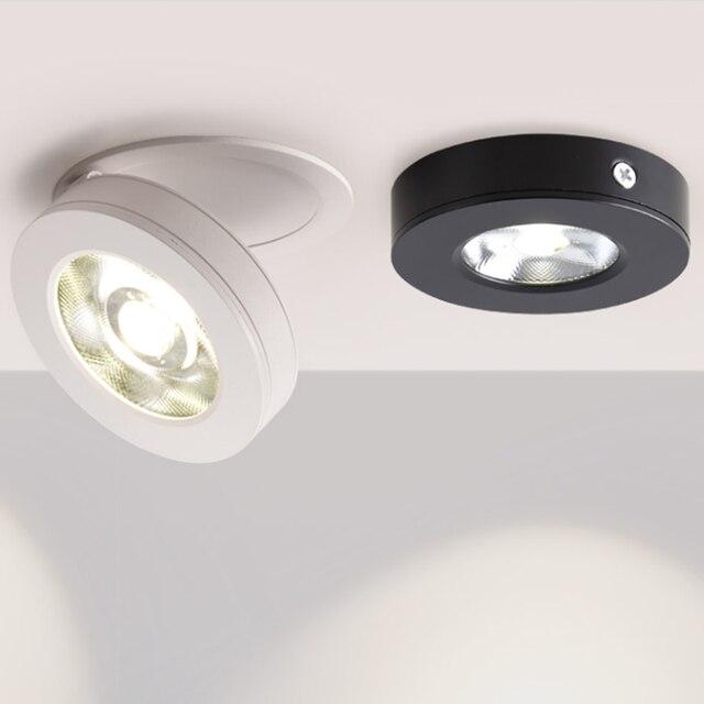 회전 360 ° 접는 recessed 라운드 cob led downlights 7 w/12 w led 천장 스포트 라이트 배경 그림 램프 실내 lig