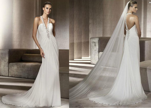 Free Shipping 2020 Vestido De Noiva Floor Length Halter Backless Rhinestone Applique Bridal Gown Chiffon Bridesmaid Dresses