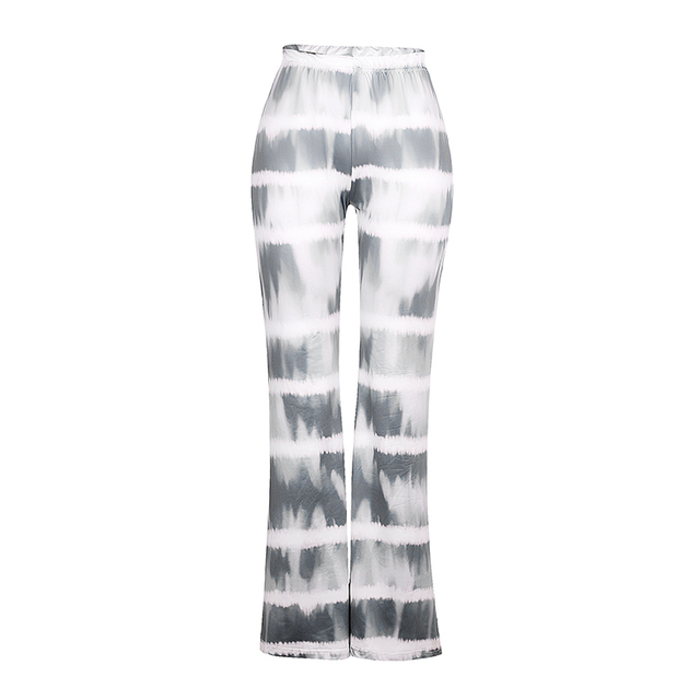 Summer Women's Flared Pants High-Waist Trousers Stripes Casual Loose Slimming Pants Summer Bottoms