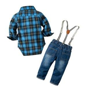 Image 3 - Джинсовая одежда для новорожденных мальчиков хлопковые клетчатые комбинезоны джентльменский нагрудник джинсовая одежда костюм наряд 6   24 м