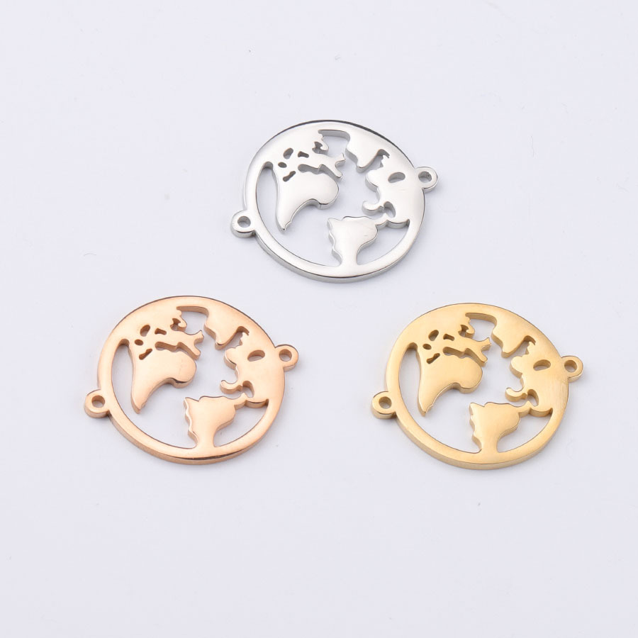 10pcs Gold/Rose Gold Stainless Steel World Map Connectors For Bracelet Necklace 22*27mm Charm Jewelry Making Supplies