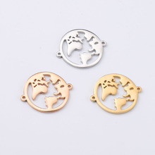 10pcs Gold/Rose Gold Stainless Steel World Map Connectors Fo