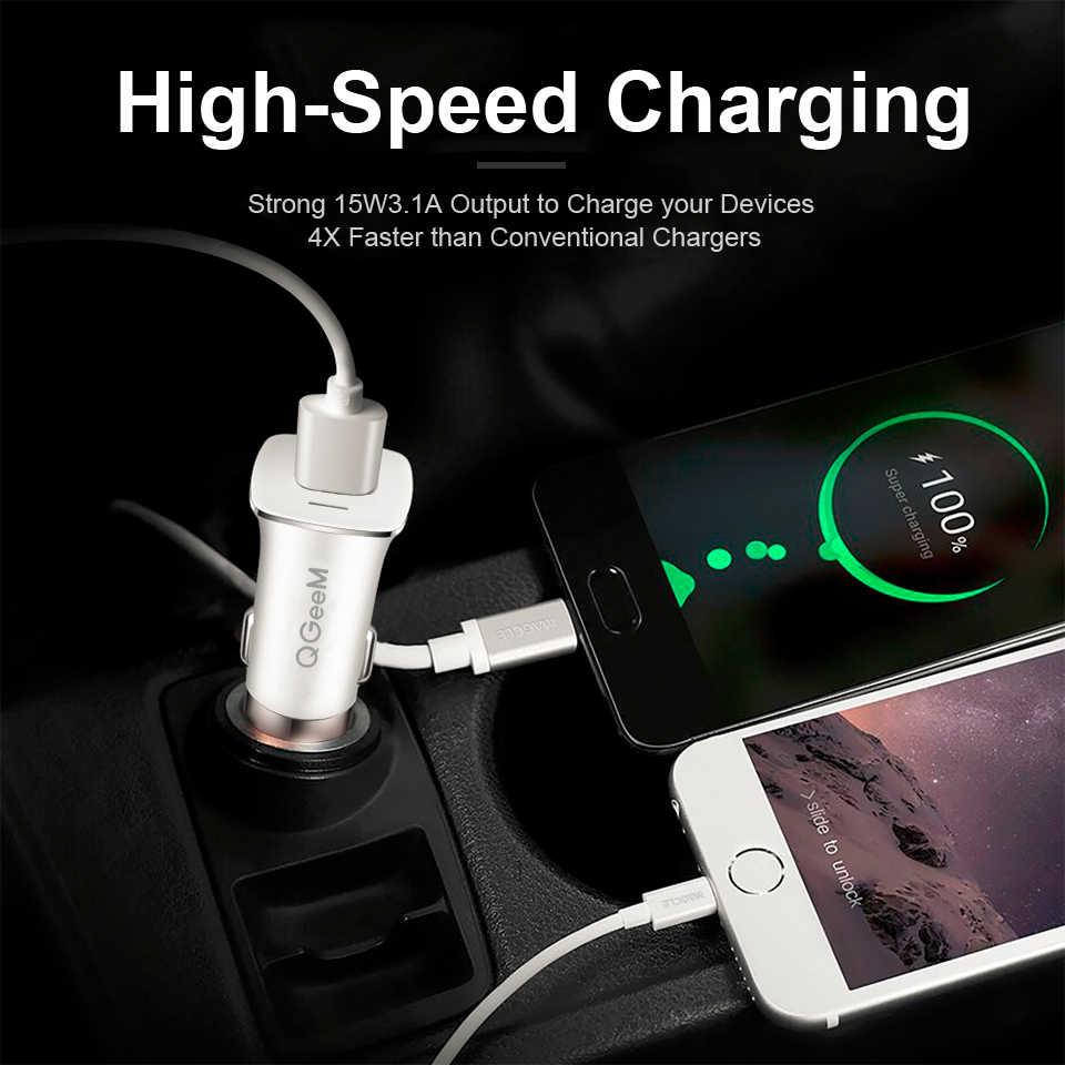 Qgeem QC 3.0 Usb Mobil Charger Keselamatan Hammer Pengisian Cepat 3.0 Mobil Charger Cepat Pengisian Ponsel Adaptor untuk iPhone Xiao mi Mi 9 Red Mi