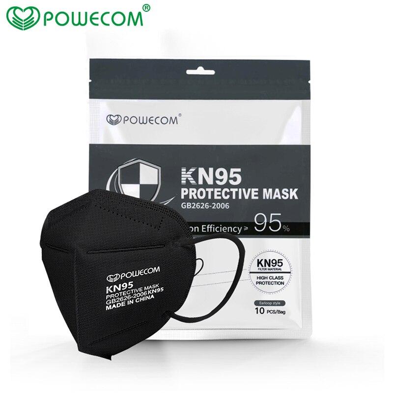 Powecom KN95 маски черная маска для лица многоразовая маска для лица KN95 фильтр Пылезащитная маска для обеспечения безопасности mascarillas mascherina kn95mask