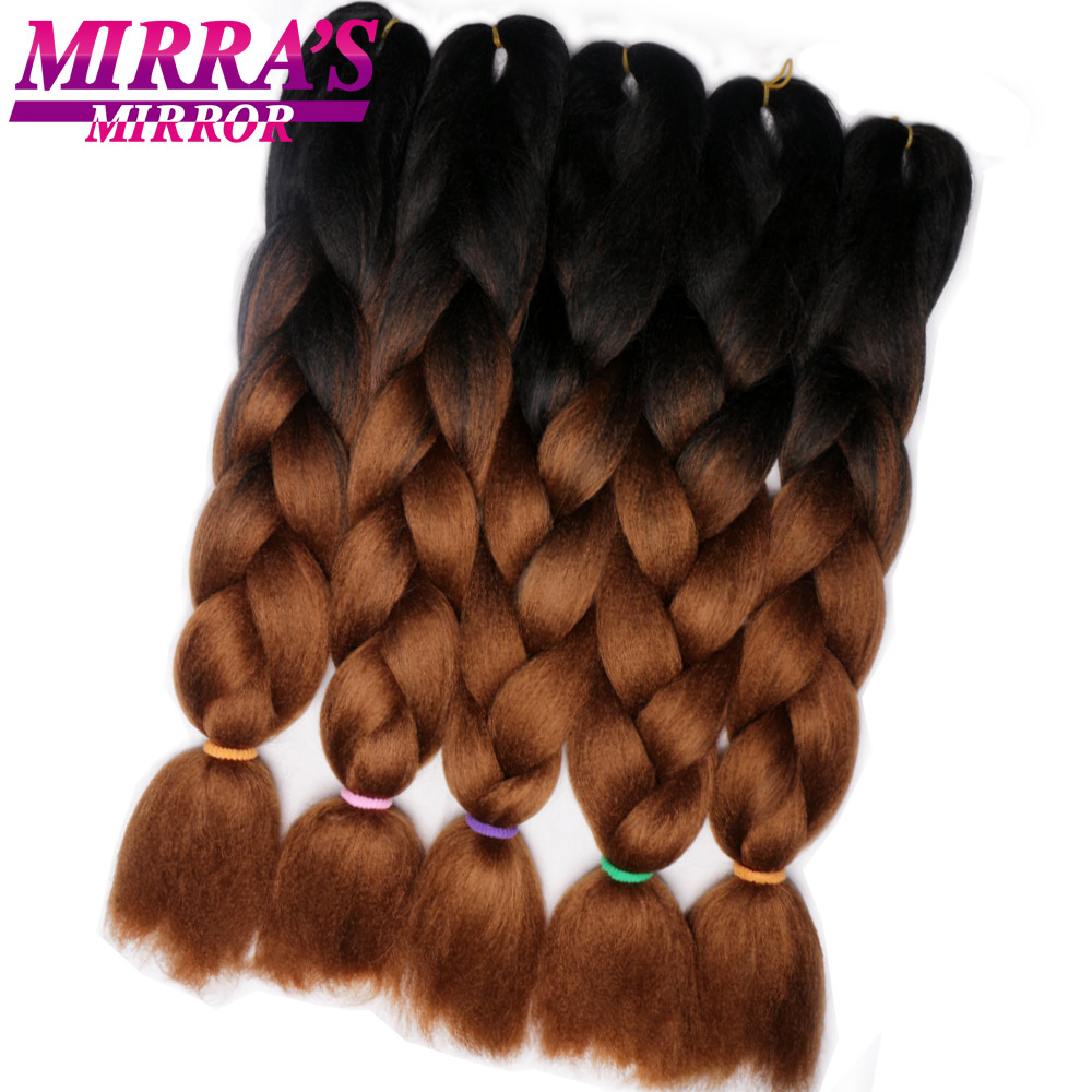 Зеркальные синтетические косички Mirra's 24 дюйма, цветные косички для плетения волос с эффектом омбре, трехцветные темно-коричневые