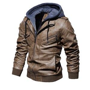 Image 3 - גברים של עור מפוצל מעיל גברים אופנוע הוד חורף מעיל גבר חם מקרית עור מעילי זכר Slim Fit מחבל מעיל רוח