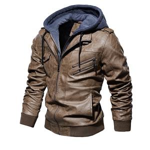 Image 3 - Męskie ze skóry PU kurtka mężczyźni motocykl kaptur płaszcz zimowy człowiek ciepłe skórzane kurtki męskie Slim Fit Bomber wiatrówka
