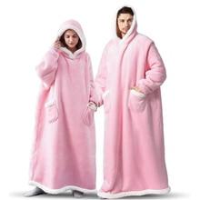 Ailegogo Winter Warm Women Extra Long TV Hooded Blanket Sofa Cozy Plaid Pocket Fleece Adults Kids Bathrobe Oversized Outwear