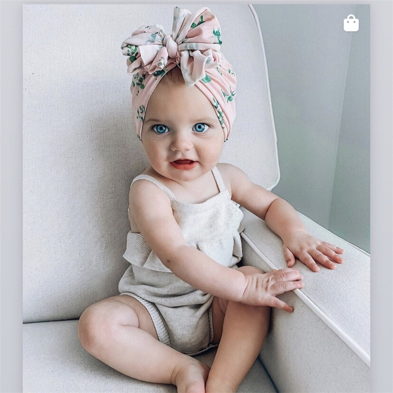 Spring  Infant Beanie Turban Hat Baby Cotton Big Bowknot Hairband Hair Bows Photography Props Cap