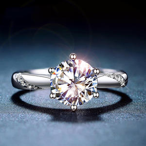 Jewelry Moissanite-Ring Lab Diamond 925-Sterling-Silver Simple-Style Classic 1ct Ij-Color