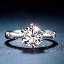 كلاسيكي 925 فضة مويسانيتي الدائري 1ct IJ اللون مختبر الماس والمجوهرات أسلوب بسيط خاتم للذكرى