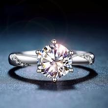 קלאסי 925 כסף סטרלינג Moissanite טבעת 1ct IJ צבע מעבדת יהלומי סגנון פשוט תכשיטי יום נישואים טבעת