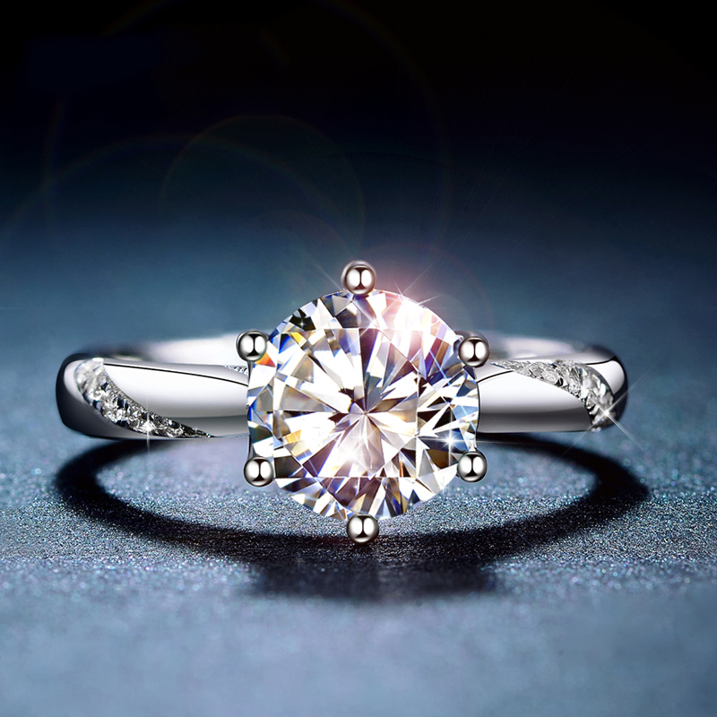Classic 925 Sterling Silver Moissanite Ring 1ct IJ Color Lab Diamond Jewelry Simple Style Anniversary Ring