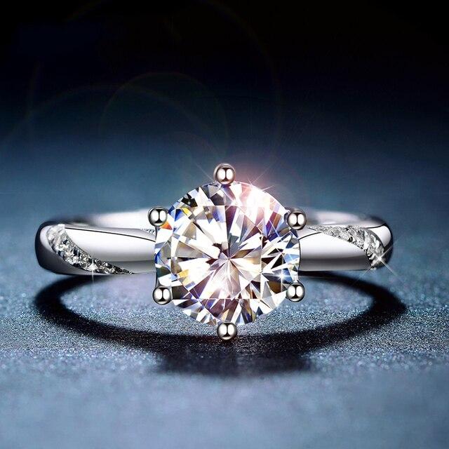 Классическое серебряное кольцо Moissanite, 1 карат, IJ, ювелирное изделие с цветными бриллиантами Lab, ювелирное изделие в простом стиле, кольцо на годовщину