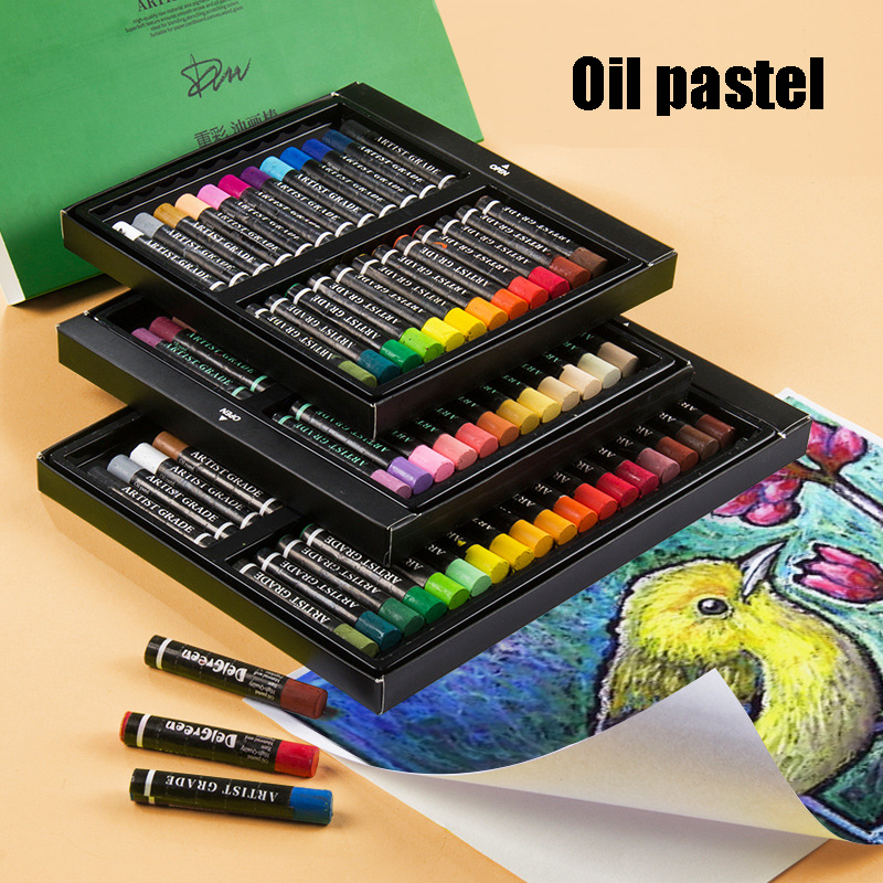 12/24/36/60 Colors Round Shape Soft Oil Pastel For Students Drawing Pen School Stationery Art Supplies Wax Crayon