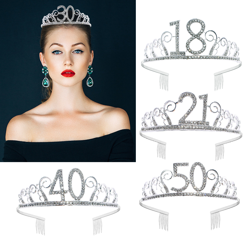 18/21/30/40/50 Princess Crown Headband Women Birthday Diadem Silver Crystal Rhinestones Tiara Anniversary Party Hair Accessories