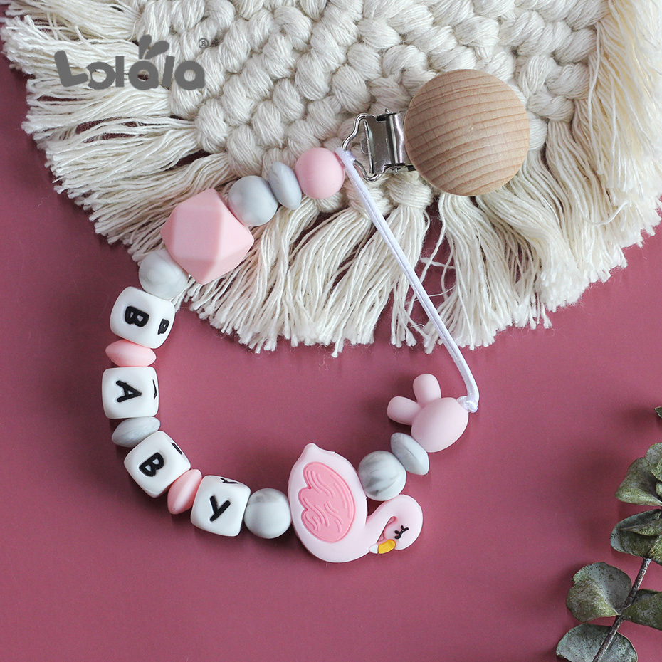 Beech Baby Pacifier Clip Personalised Name Colorful Swan Silicone Pacifier Chain For Baby Teething Soother Chew Toy Dummy Clips