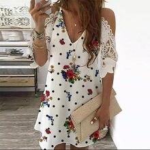 Hale Sleeve Print Dress Women Summer Fashion Lace Cold Shoulder Office Party Midi Sundress Plus Size Robe Ete