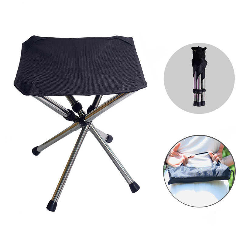 Outdoor Folding Camping Chair Portable Stainless Steel Picnic Chair  Stool Hiking BBQ Seat Foldable Beach Mini Chair