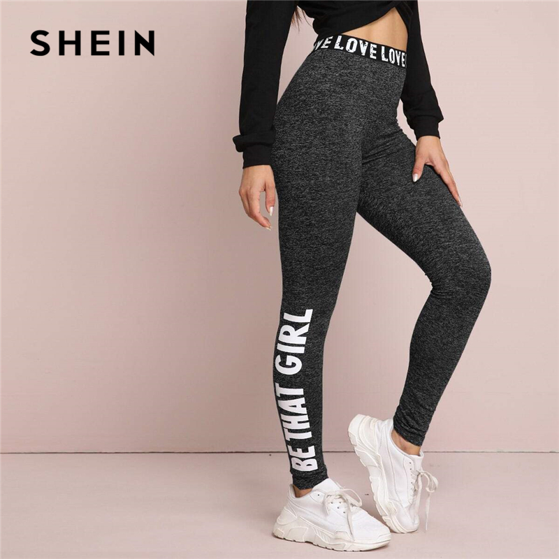 SHEIN Black Letter Print Graphic Marled Leggings Women Bottoms Spring Elastic Waist Active Wear Casual Ladies Basic Trousers