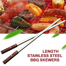 Stainless Steel Wide BBQ Skewers Long Wood Handle Barbecue Fork Stick Shish Kebab Grill Skewer Camping Panic Tool Brazilian Styl